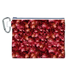 Warm Floral Collage Print Canvas Cosmetic Bag (Large)