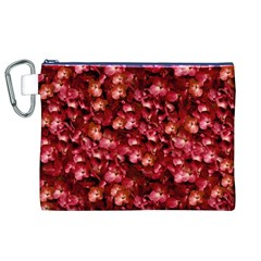 Warm Floral Collage Print Canvas Cosmetic Bag (XL)