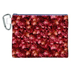 Warm Floral Collage Print Canvas Cosmetic Bag (XXL)