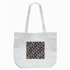 Modern Floral Geometric Pattern Tote Bag (White)