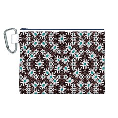 Modern Floral Geometric Pattern Canvas Cosmetic Bag (Large)