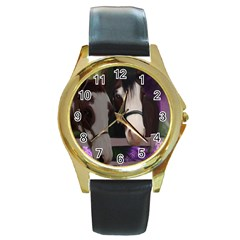 Two Horses Round Leather Watch (gold Rim)