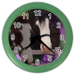 Two Horses Wall Clock (color)
