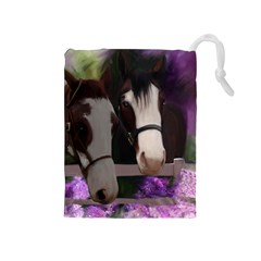 Two Horses Drawstring Pouch (Medium)