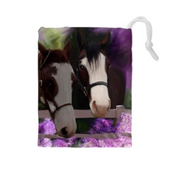 Two Horses Drawstring Pouch (Large)