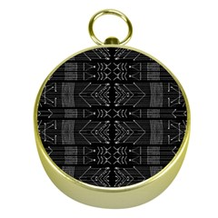 Black And White Tribal  Gold Compass