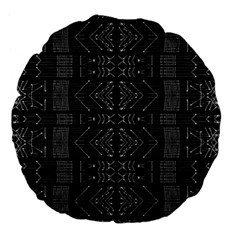 Black And White Tribal  Large 18  Premium Flano Round Cushion