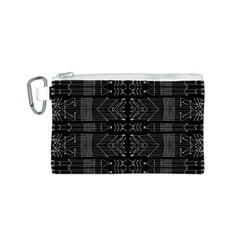 Black and White Tribal  Canvas Cosmetic Bag (Small)