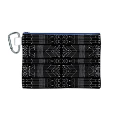 Black and White Tribal  Canvas Cosmetic Bag (Medium)