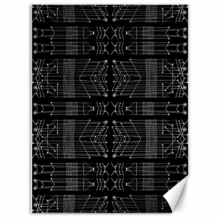 Black and White Tribal  Canvas 36  x 48  (Unframed)