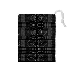 Black and White Tribal  Drawstring Pouch (Medium)