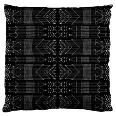 Black and White Tribal  Large Flano Cushion Case (One Side)