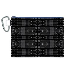 Black and White Tribal  Canvas Cosmetic Bag (XL)