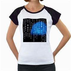 Binary Rain Women s Cap Sleeve T-Shirt (White)