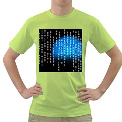 Binary Rain Men s T Shirt (green)
