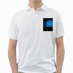 Binary Rain Men s Polo Shirt (white)