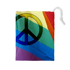 Rainbowpeace Drawstring Pouch (Large)