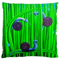 Three Sliding Snails Large Flano Cushion Case (Two Sides)