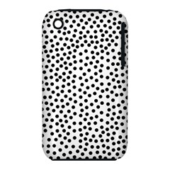Black Polka Dots Apple Iphone 3g/3gs Hardshell Case (pc+silicone)