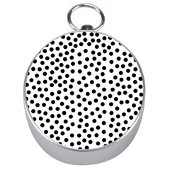 Black Polka Dots Silver Compass