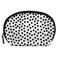 Black Polka Dots Accessory Pouch (Large)