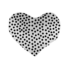 Black Polka Dots Standard 16  Premium Flano Heart Shape Cushion