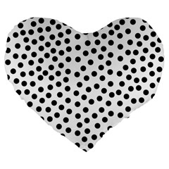 Black Polka Dots Large 19  Premium Flano Heart Shape Cushion
