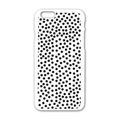 Black Polka Dots Apple iPhone 6 White Enamel Case