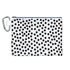 Black Polka Dots Canvas Cosmetic Bag (Large)