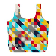 Colorful shapes Full Print Recycle Bag (L)