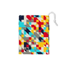 Colorful shapes Drawstring Pouch (Small)