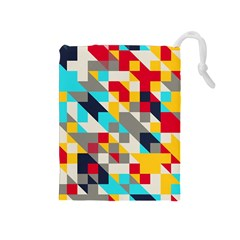 Colorful shapes Drawstring Pouch (Medium)