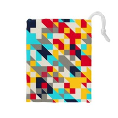 Colorful shapes Drawstring Pouch (Large)