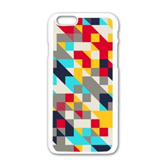 Colorful shapes Apple iPhone 6 White Enamel Case