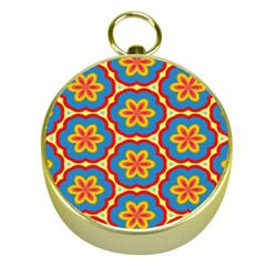 Floral pattern Gold Compass
