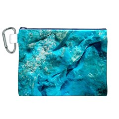 Turquoise Canvas Cosmetic Bag (XL)