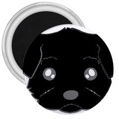 Affenpinscher Cartoon 2 Sided Head 3  Button Magnet