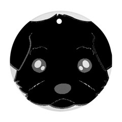 Affenpinscher Cartoon 2 Sided Head Round Ornament
