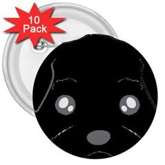 Affenpinscher Cartoon 2 Sided Head 3  Button (10 pack)