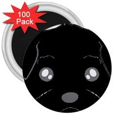 Affenpinscher Cartoon 2 Sided Head 3  Button Magnet (100 pack)