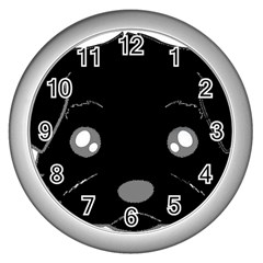 Affenpinscher Cartoon 2 Sided Head Wall Clock (Silver)