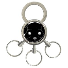 Affenpinscher Cartoon 2 Sided Head 3-Ring Key Chain