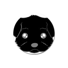 Affenpinscher Cartoon 2 Sided Head Magnet 3  (Round)