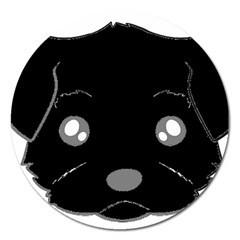 Affenpinscher Cartoon 2 Sided Head Magnet 5  (Round)