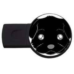 Affenpinscher Cartoon 2 Sided Head 4GB USB Flash Drive (Round)