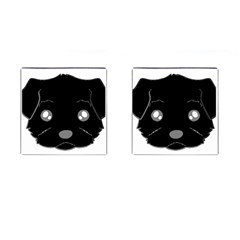 Affenpinscher Cartoon 2 Sided Head Cufflinks (Square)