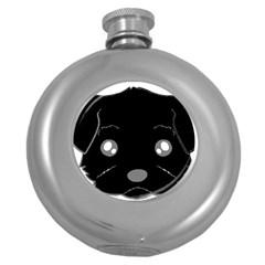 Affenpinscher Cartoon 2 Sided Head Hip Flask (Round)