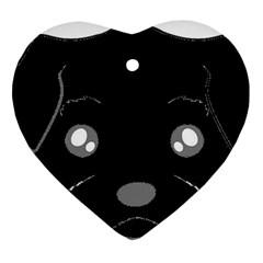 Affenpinscher Cartoon 2 Sided Head Heart Ornament (Two Sides)