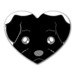 Affenpinscher Cartoon 2 Sided Head Mouse Pad (Heart)