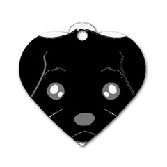 Affenpinscher Cartoon 2 Sided Head Dog Tag Heart (One Sided)